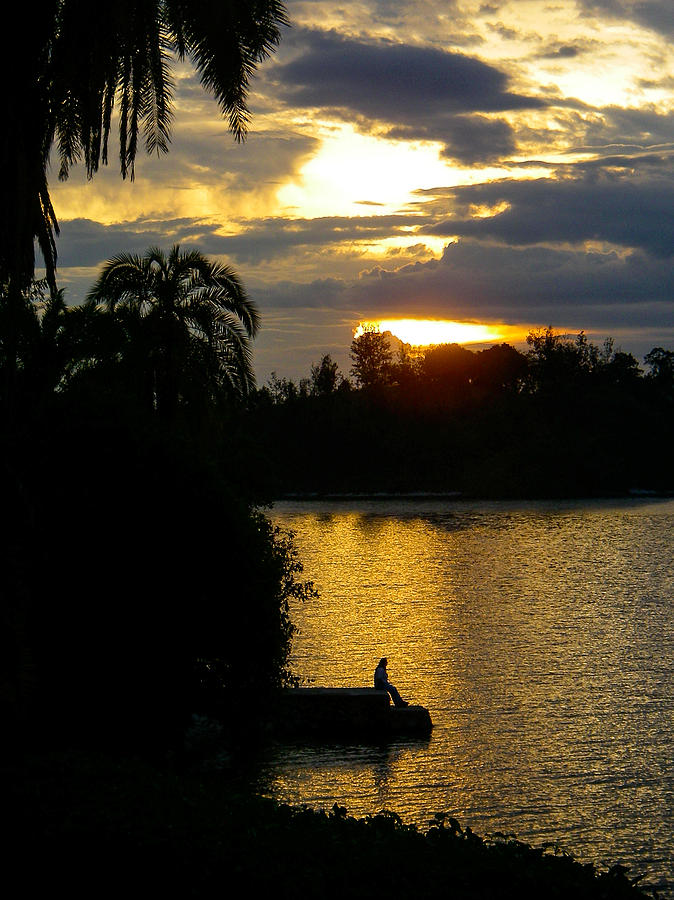 Sunset Silhouette Bethanie Inn Kibuye Lake Kivu Rwanda Africa Photograph