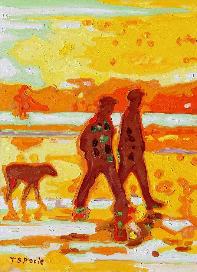 Sunset Beach Walk Painting - Sunset Silhouette Carmel Beach With Dog by Thomas Bertram POOLE