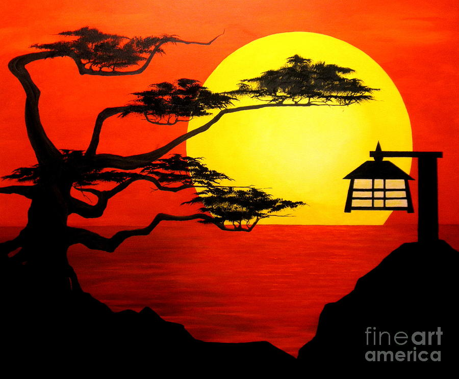 Sunset Silhouette Painting By D L Gerring