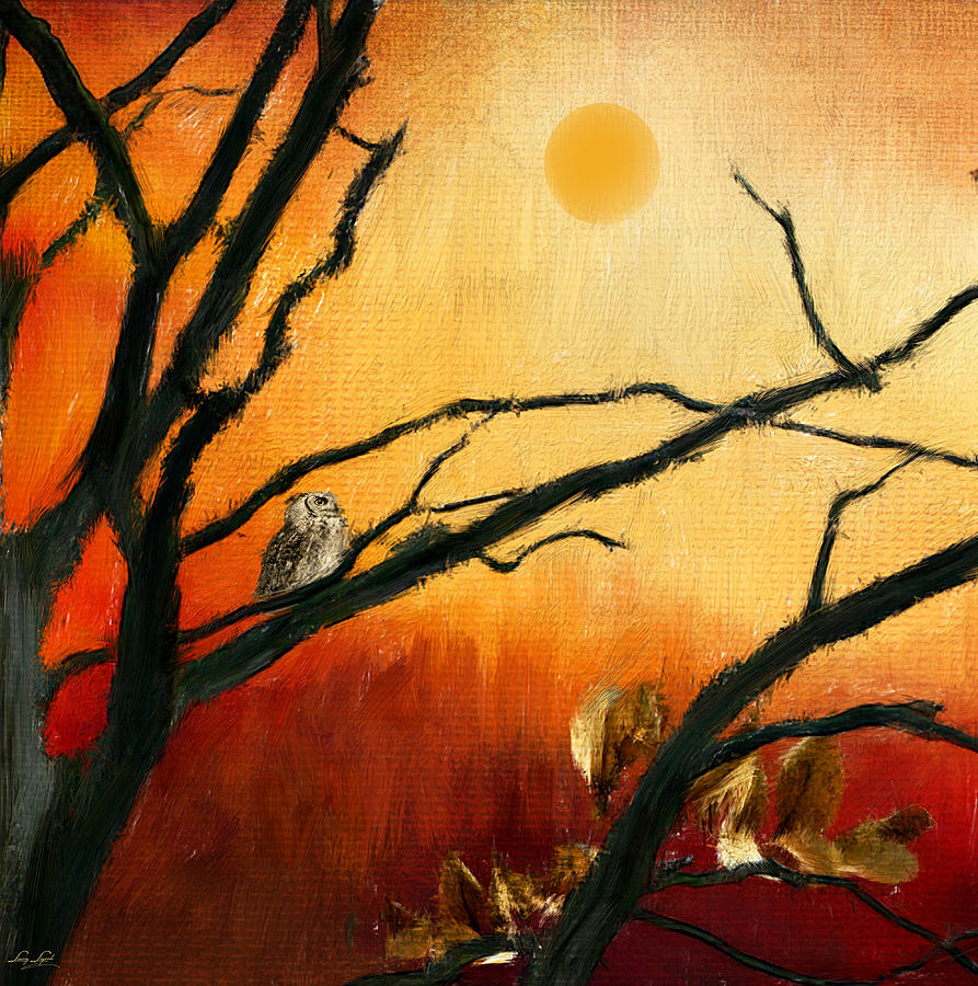 Owl At Sunset Digital Art - Sunset Sitting by Lourry Legarde