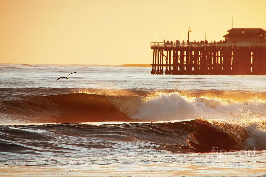 Sunset Photograph - Sunset Surf Santa Cruz by Paul Topp