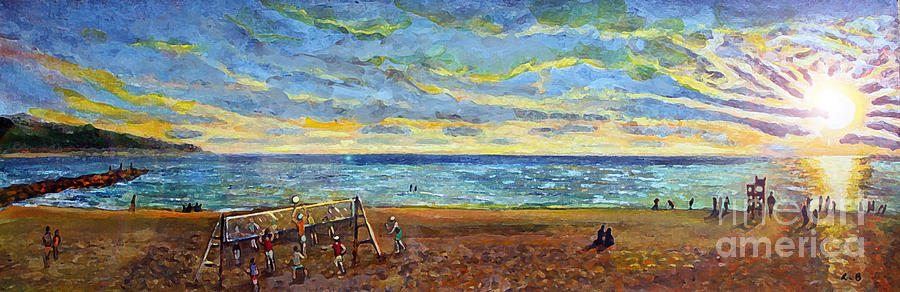 Sunset Volleyball At Old Silver Beach Painting  - Sunset Volleyball At Old Silver Beach Fine Art Print