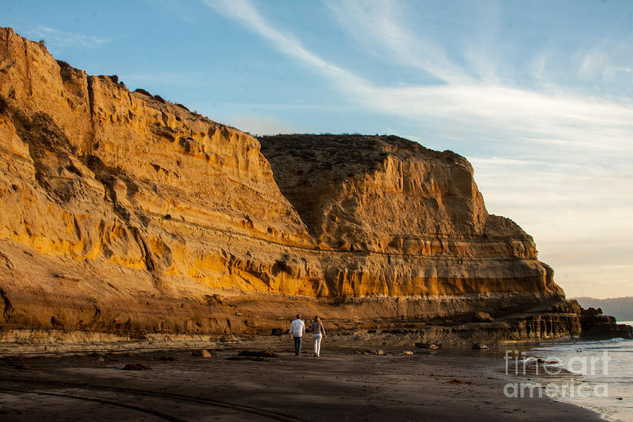 Sunset Walk At Flat Rock La Jolla California Photograph By