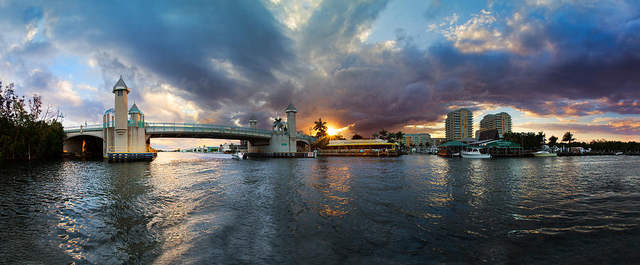 Boats Photograph - Sunset Waterway Panorama by Debra and Dave Vanderlaan