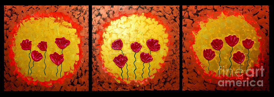 Sunshine Poppies - Abstract Oil Painting Original Metallic Gold Textured Modern Contemporary Art Painting