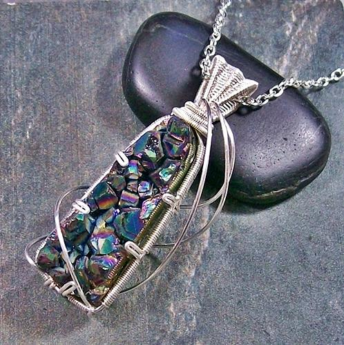 Sunshine Quartz Titanium Druzy Pendant In Silver Jewelry