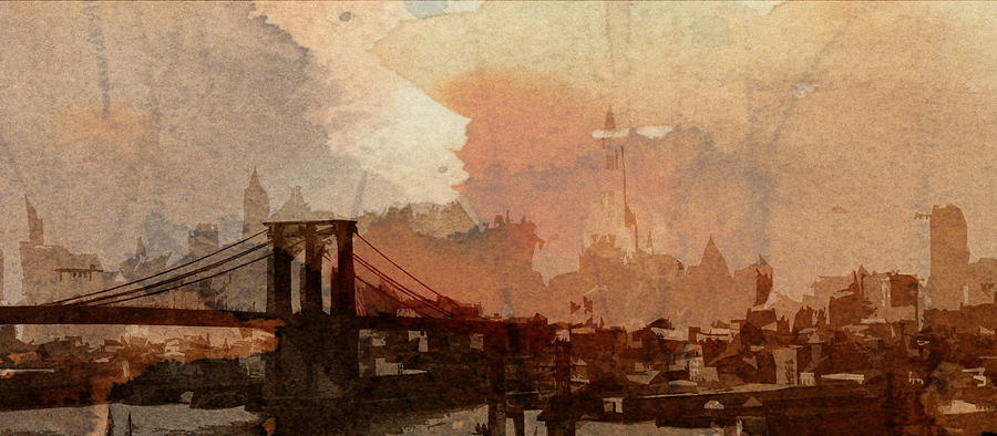 Brooklyn Bridge New York Nyc Ny City Cityscape Usa Skyscraper Abstract Painting Digital Art Manhattan Symbol Sight 1930 Vintage America Sunrise Digital Art - Sunsrise Over Brooklyn Bridge by Stefan Kuhn