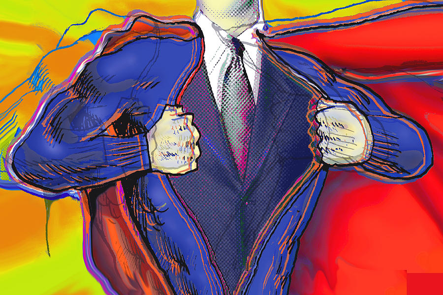 Super Dad Painting  - Super Dad Fine Art Print