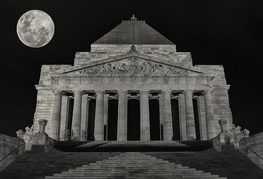 Super Moon Behind Shrine Of Remembrance  Photograph  - Super Moon Behind Shrine Of Remembrance  Fine Art Print