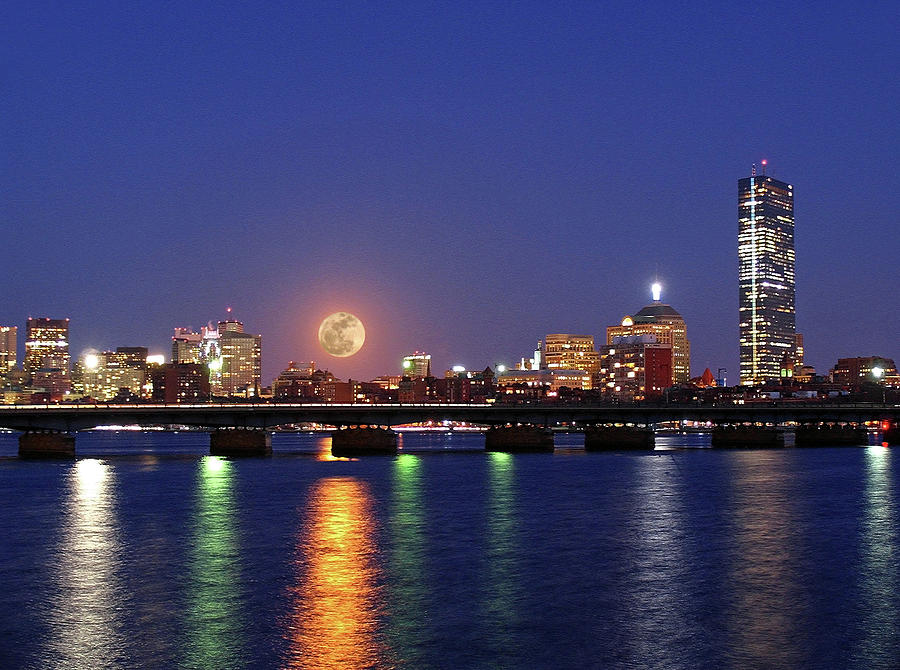 Super Moon Over Boston Photograph  - Super Moon Over Boston Fine Art Print