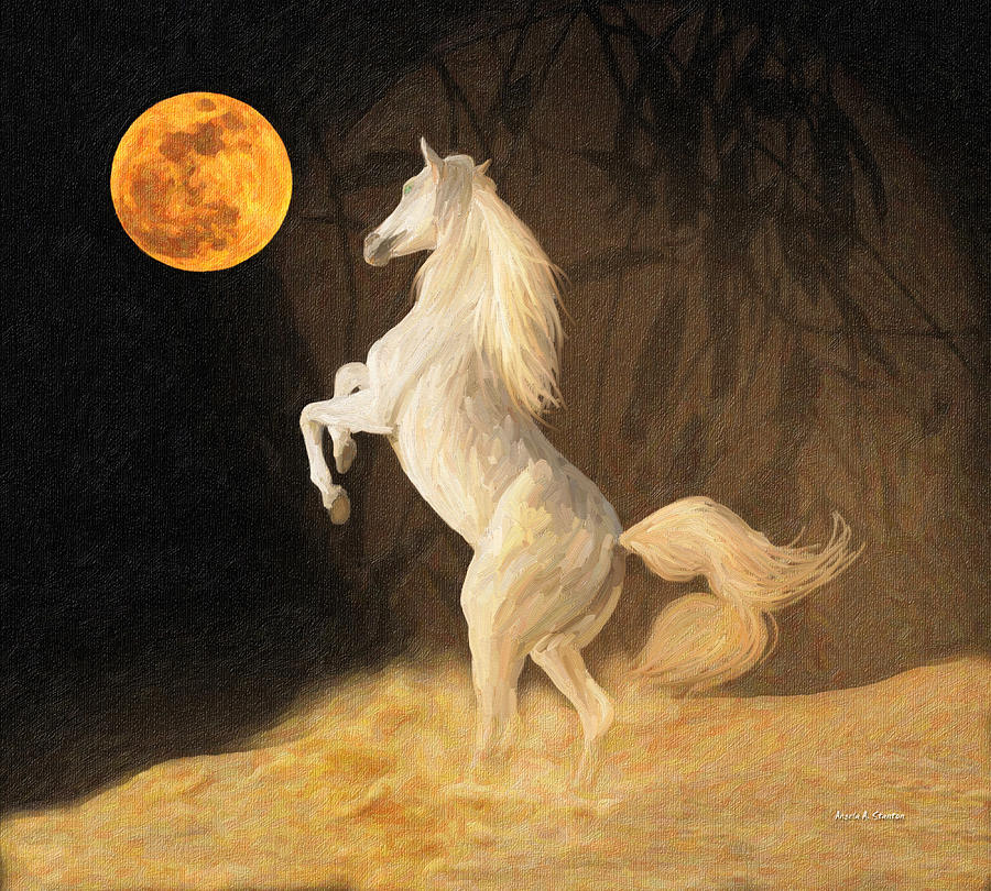 Moon Painting - Super Moonstruck by Angela A Stanton