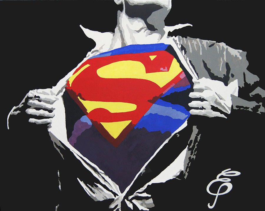 Comic Paintings Painting - Superman by Erik Pinto