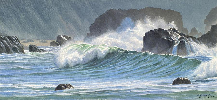 Surf And Rocks-harris Beach Painting