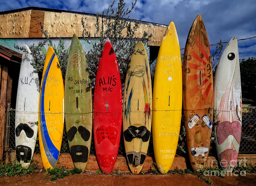 Surf Board Fence Maui Hawaii Photograph