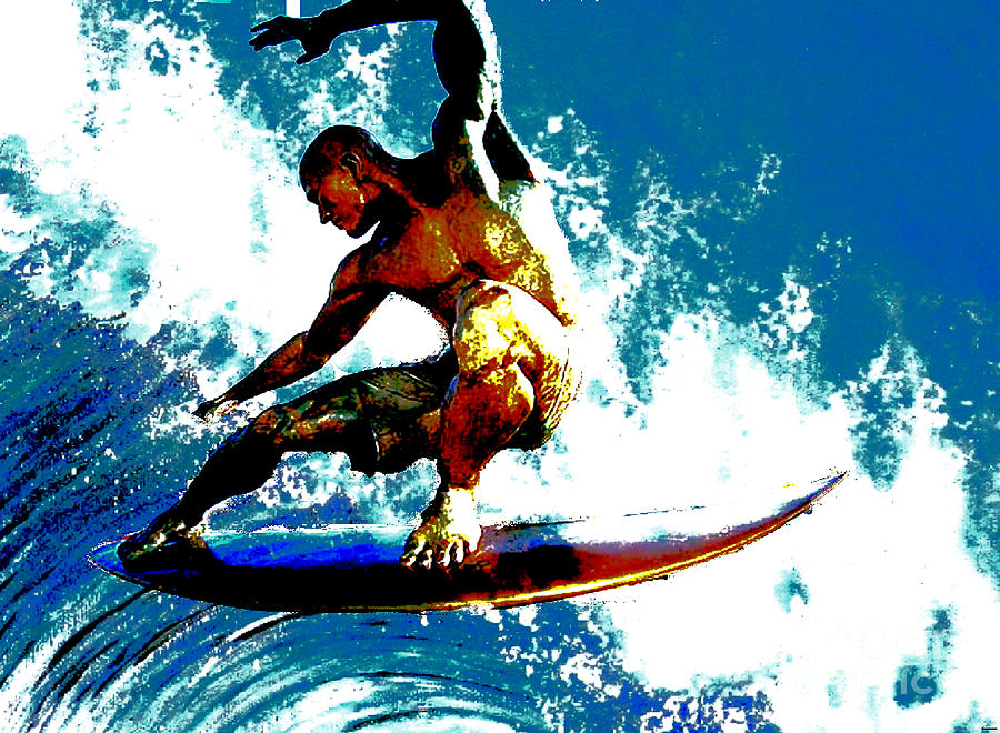 Surfing Freedom Digital Art  - Surfing Freedom Fine Art Print