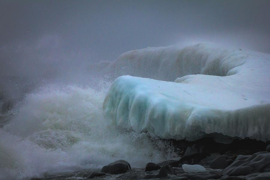 lake Superior stoney Point Ice Splash Storm Nature north Shore Frozen Blizzard Snowstorm greeting Cards mary Amerman surging Sea Photograph - Surging Sea by Mary Amerman
