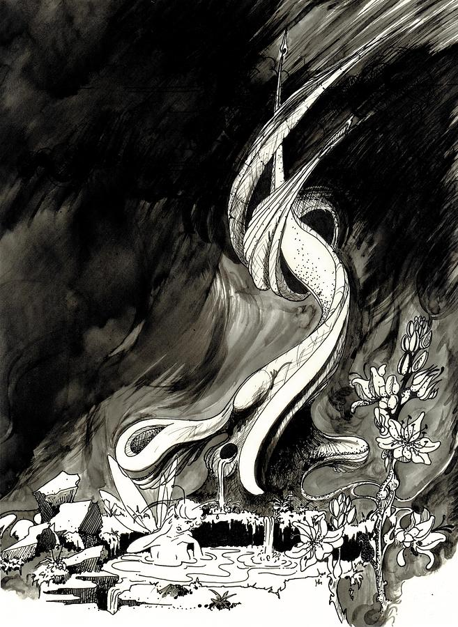 Ink Drawing - Surprise by Julio Lopez