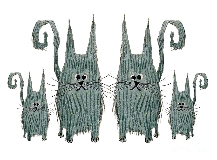 Surprised Cats Mixed Media