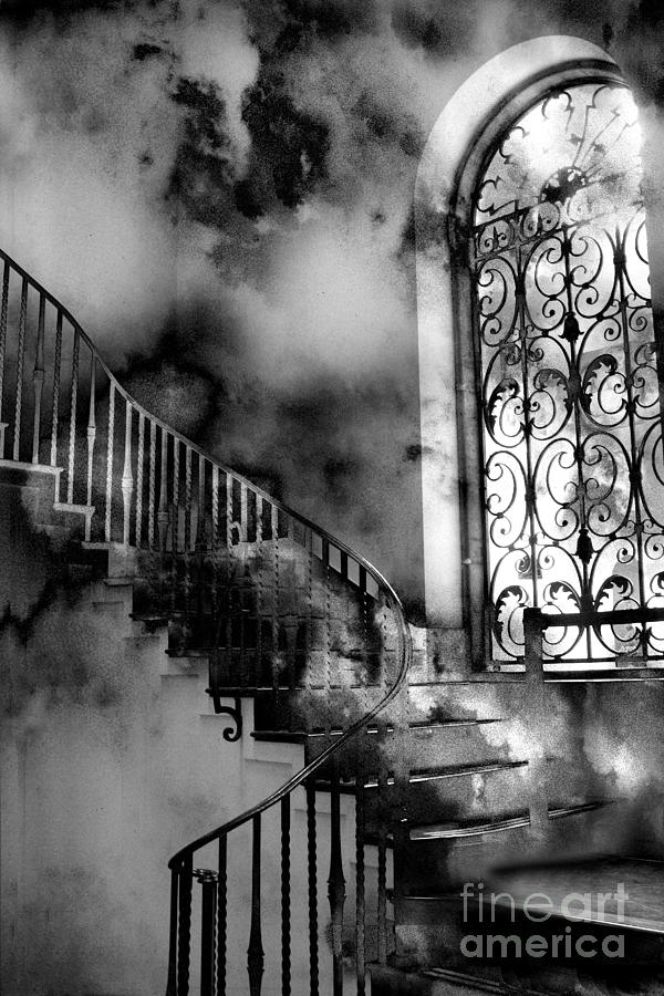 Surreal Black White Fantasy Staircase Photograph  - Surreal Black White Fantasy Staircase Fine Art Print