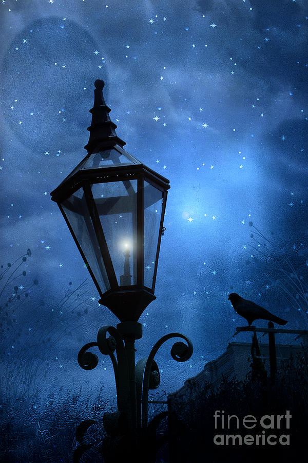Surreal Fantasy Gothic Blue Night Lantern With Ravens - Starry Night Surreal Lantern Blue Moon Photograph