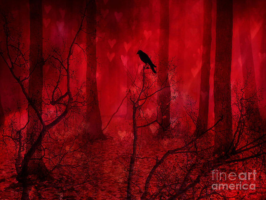 Surreal Fantasy Gothic Red Woodlands Raven Trees Photograph  - Surreal Fantasy Gothic Red Woodlands Raven Trees Fine Art Print