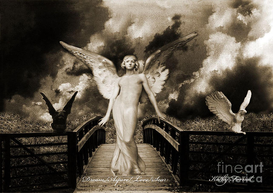 Surreal Gothic Angel With Gargoyle And Eagle Photograph  - Surreal Gothic Angel With Gargoyle And Eagle Fine Art Print