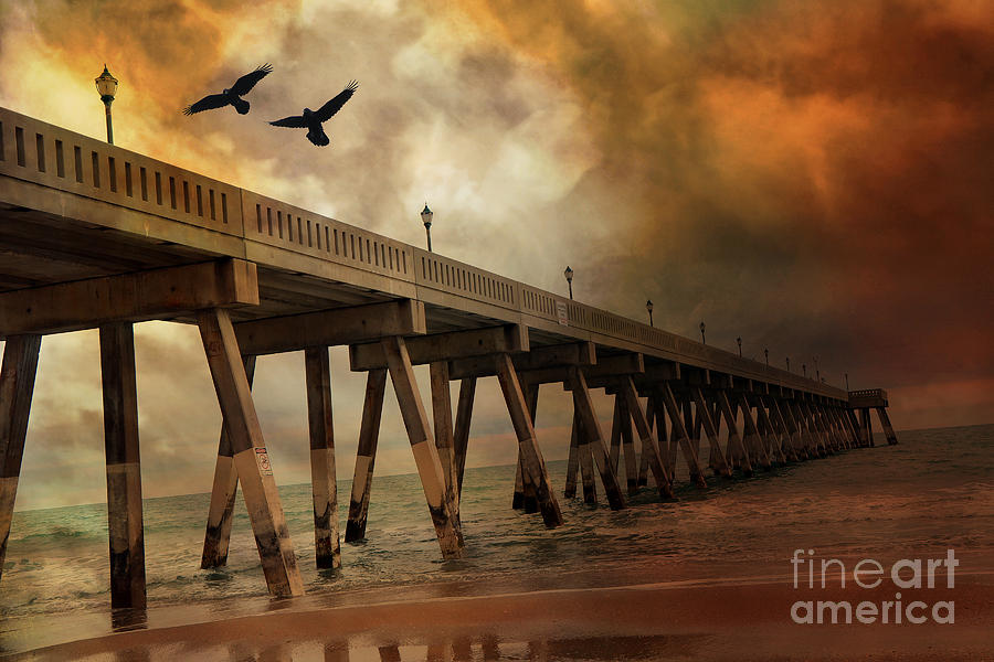 Surreal Haunting Fishing Pier Ocean Coastal Storm Clouds  Photograph  - Surreal Haunting Fishing Pier Ocean Coastal Storm Clouds  Fine Art Print
