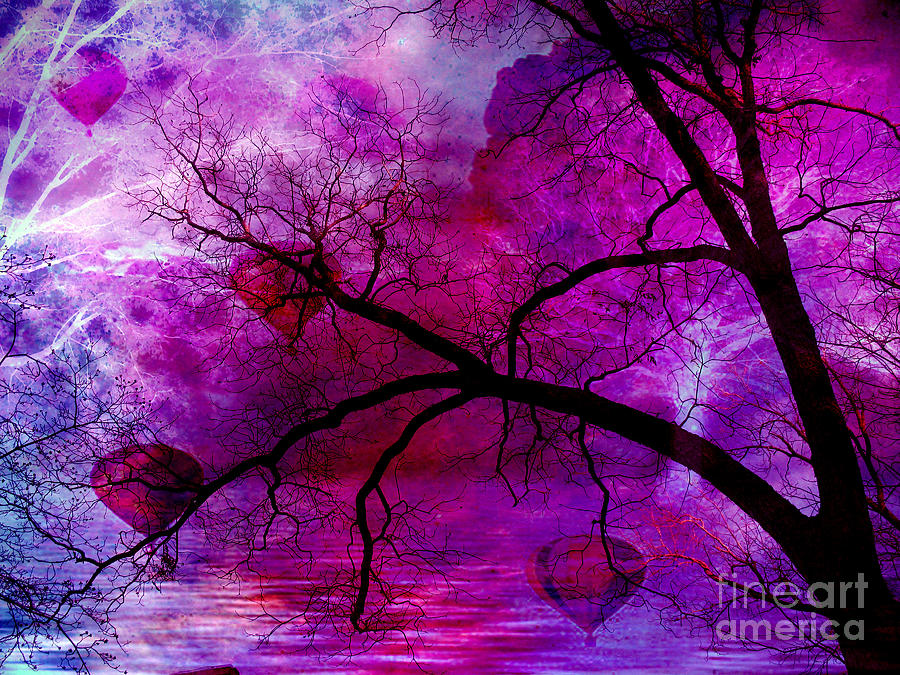 Surreal Purple Pink Trees Hot Air Balloons Photograph by Kathy