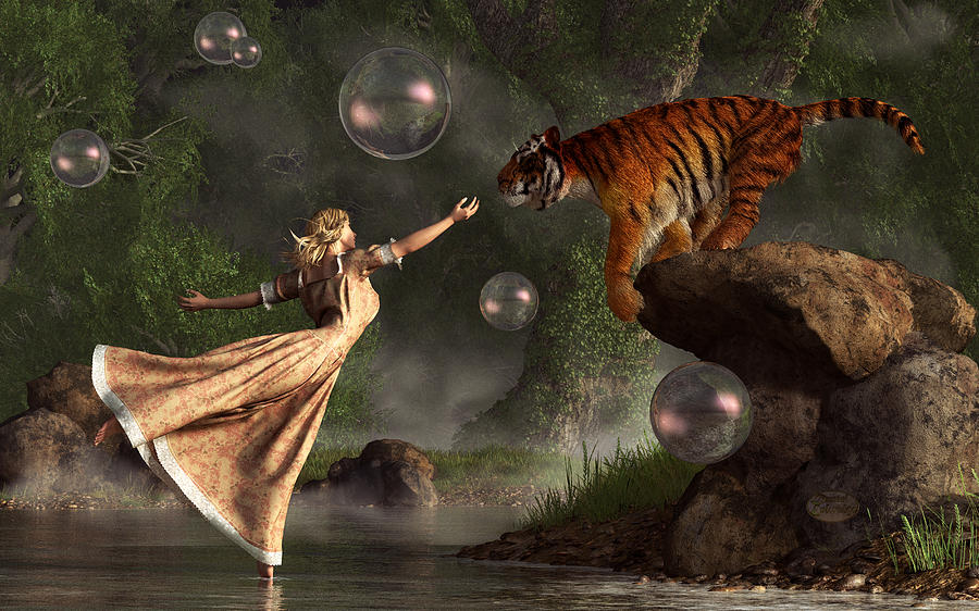 Surreal Tiger Bubble Waterdancer Dream Digital Art
