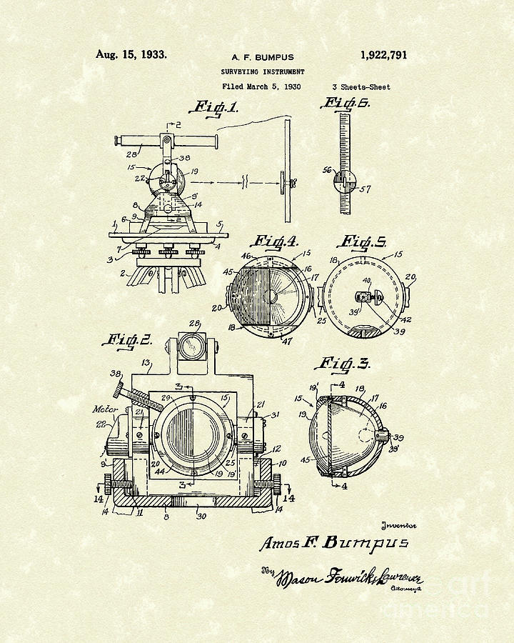 Bumpus Drawing - Surveying Instrument 1933 Patent Art by Prior Art Design