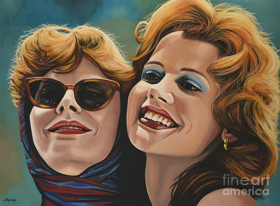 Susan Sarandon And Geena Davies Alias Thelma And Louise Painting  - Susan Sarandon And Geena Davies Alias Thelma And Louise Fine Art Print