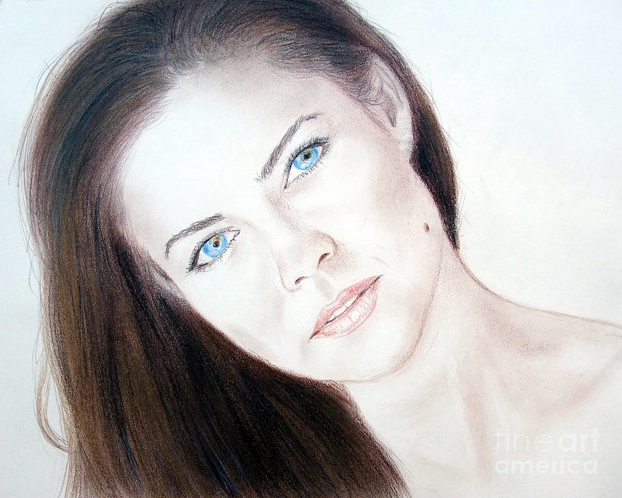Susan Ward Blue Eyed Beauty With A Mole Drawing  - Susan Ward Blue Eyed Beauty With A Mole Fine Art Print