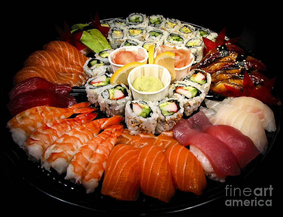 Food Photograph - Sushi Party Tray by Elena Elisseeva