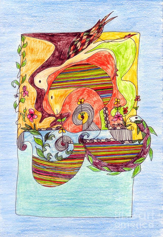 Ffish Pond Drawing - Sustainable Fish Pond by Mukta Gupta