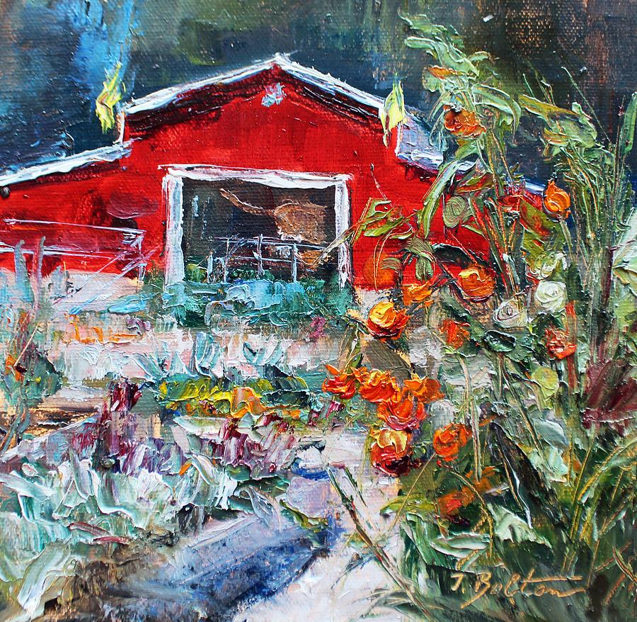 Suwanee Community Garden Painting by Ingrid Bolton