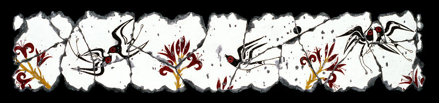 Swallows With Lilies No. 5 Painting  - Swallows With Lilies No. 5 Fine Art Print
