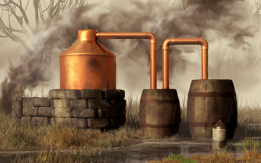 Swamp Moonshine Still Digital Art  - Swamp Moonshine Still Fine Art Print