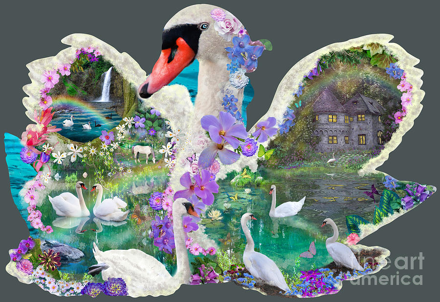 Swan Digital Art - Swan Day Dream by Alixandra Mullins