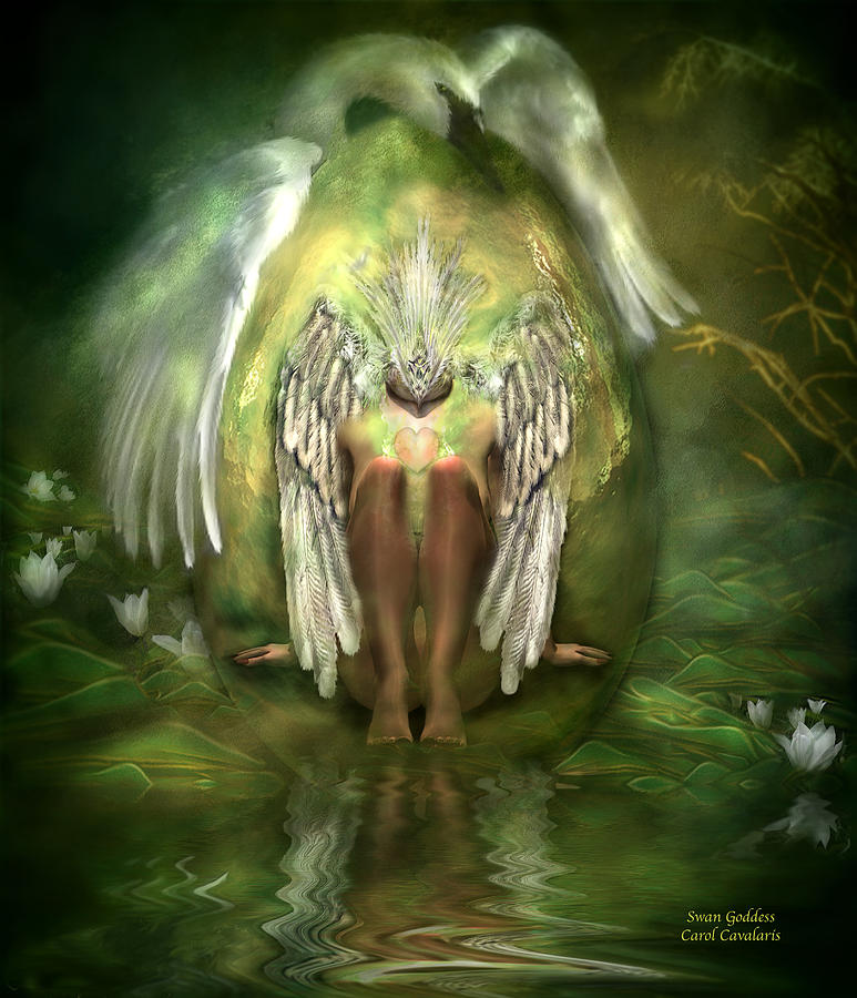 Swan Goddess Mixed Media  - Swan Goddess Fine Art Print