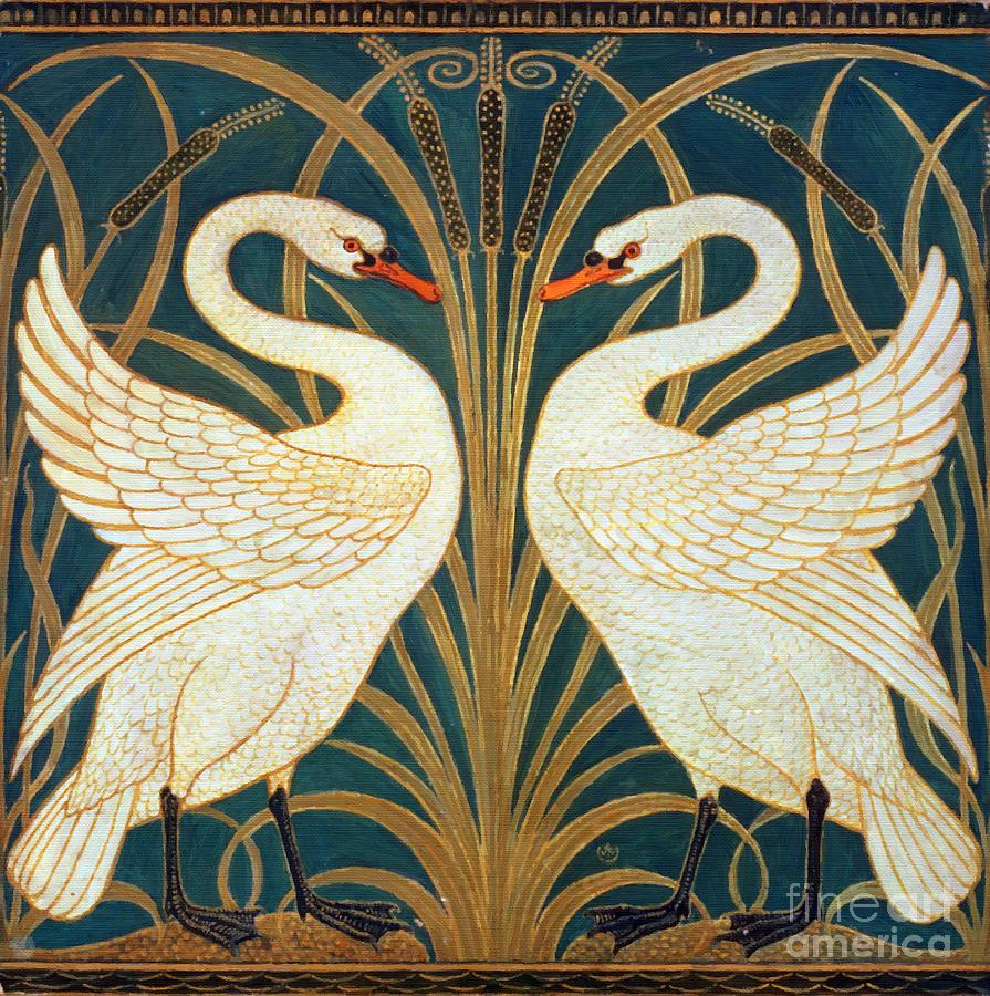 Swan Rush And Iris Painting By Walter Crane
