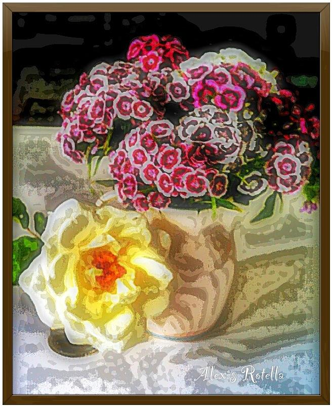 Sweet Williams With Rose Digital Art