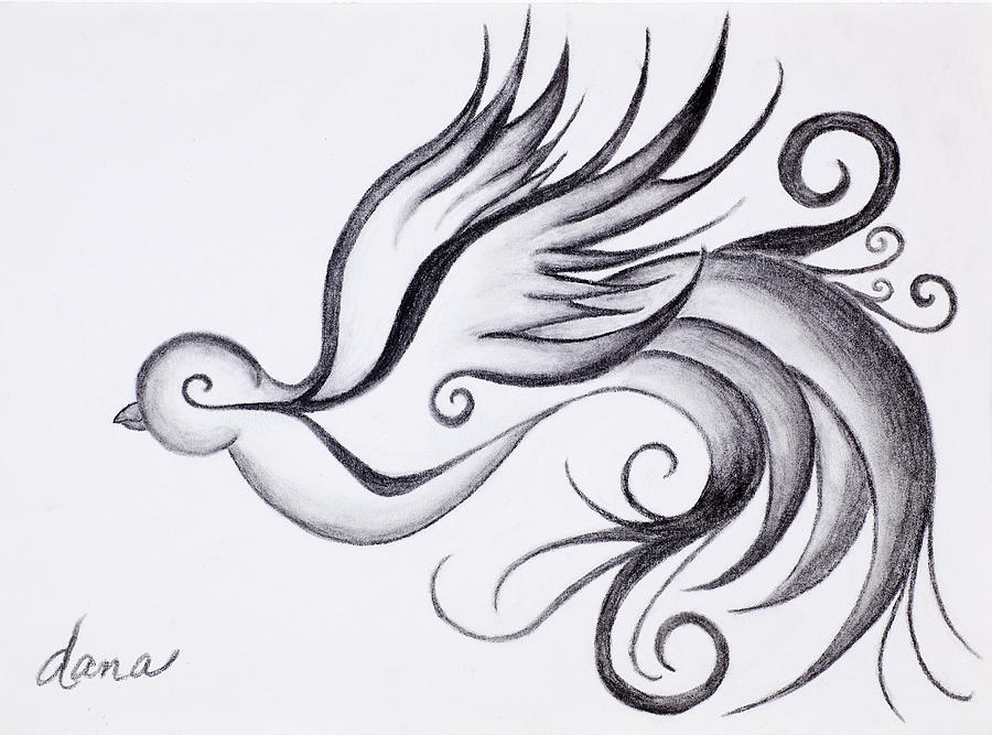 Swirly sparrow is a drawing by dana strotheide which was uploaded on