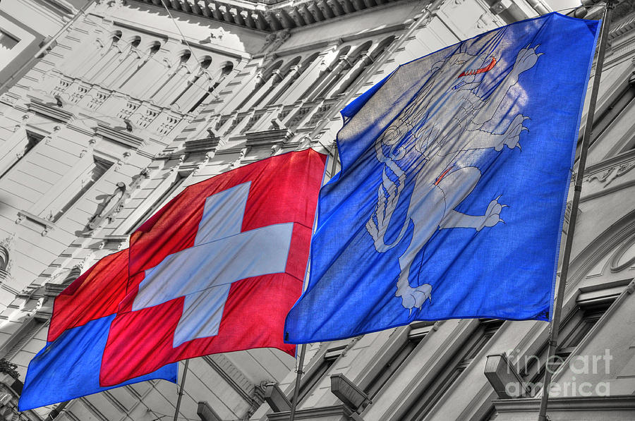 Swiss Flags  Photograph