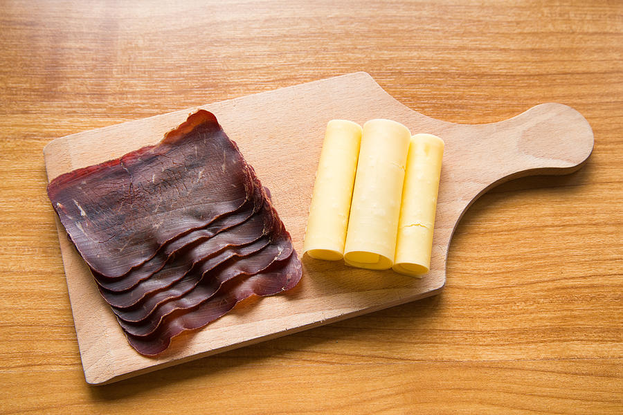 Dried Meat Photograph - Swiss Food - Dried Meat And Cheese by Matthias Hauser
