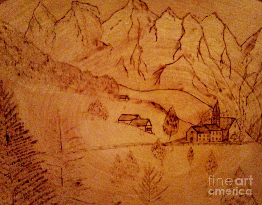 Mountains-trees-wood Burning-hotels-snow-pine Trees Pyrography - Swiss Hotel by Neil Stuart Coffey