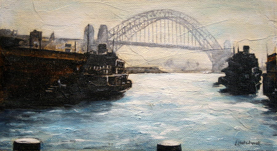 Sydney Ferry Wharves 1950s Painting