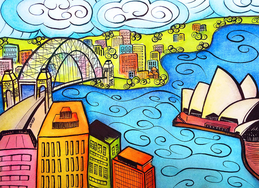Sydney Painting - Sydney Harbour  by Oiyee At Oystudio