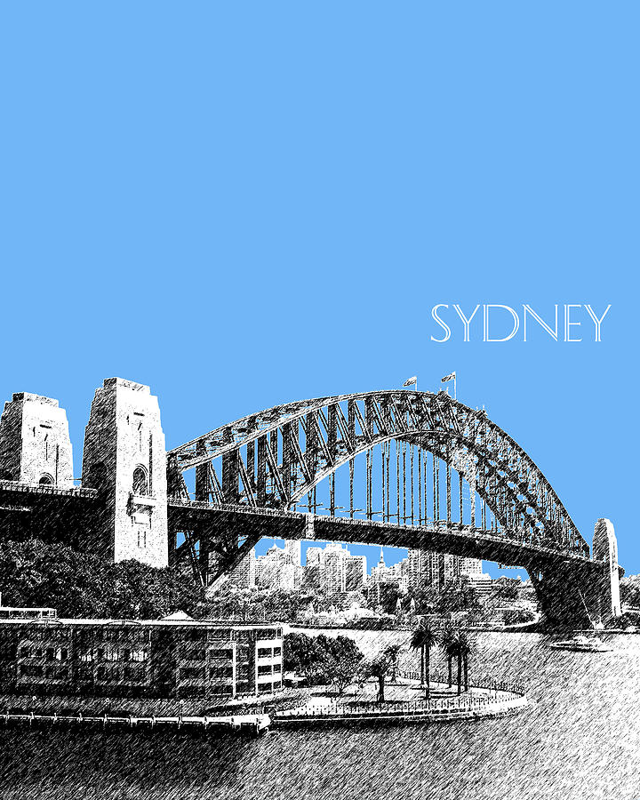 Sydney Skyline 2 Harbor Bridge - Light Blue Digital Art