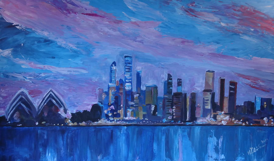 Sydney Skyline With Opera House At Dusk Painting