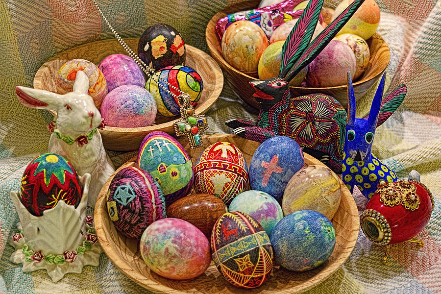 Easter; Cross; Crosses; Crucifixion; Jesus Christ; Jesus; Christ; Christian; Holiday; Holidays; Spiritual; Secular; Symbol; Symbols; Symbolism; Symbolic; Rabbit; Rabbits; Bunny; Bunnies; Easter Bunny; Egg; Eggs; Dyed; Colored; Decorated; Pysanka; Ukrainian; Mexican; Folk Art; Porcelain; Bowl; Bowls; Turned Bowl; Turned Bowls; Wooden Bowl; Wooden Bowls;spiritual;secular;photograph;photographs;photography;gary Holmes;gary; Holmes;horizontal Format;landscape;long Exposure;hdr Photograph - Symbols Of Easter- Spiritual And Secular by Gary Holmes